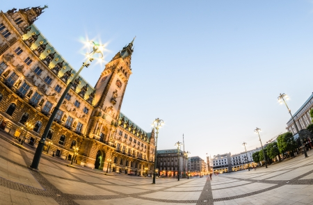 distorted image: Town Hall of Hamburg at dusk from a fisheye perspective  Stock Photo