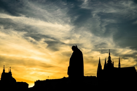 czech culture: Prague  skyline picture taken during a dramatic sunset