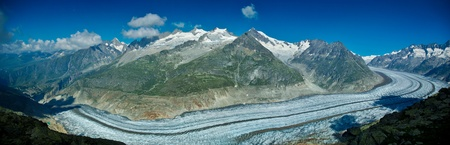 wallis: panoramic view on the end of the glacier Aletch