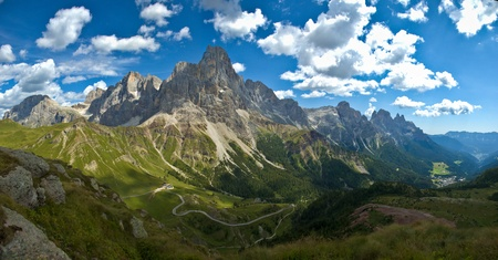 panoramic view of the Pale di San Martino, Dolomites Stock Photo