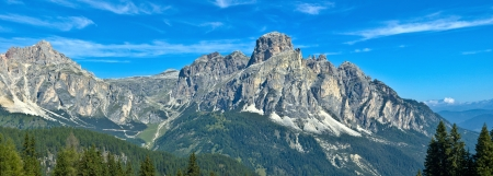majestic view of Sassongher, mountain symbol of Corvara
