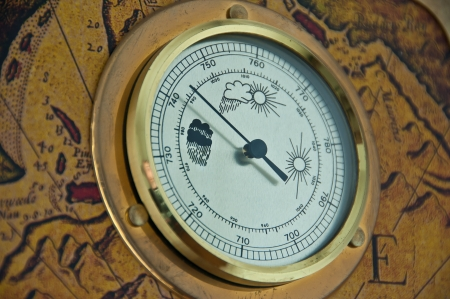 antique barometer that indicates the arrival of low pressure