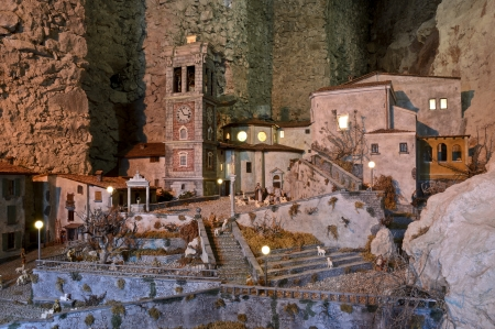 Nativity in the ancient village of sacred mountain Standard-Bild