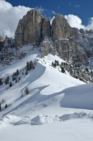 winter view of Sella Group, Dolomites - Italy