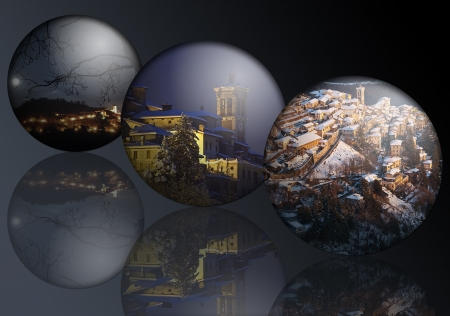 Landscapes in the spheres for Christmas photo
