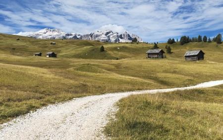 mountain path through the meadows of Val Badia, Italy Standard-Bild