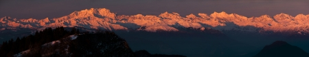 sunrise on the Monte Rosa massif, Italy