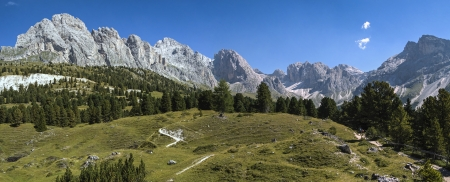 odle: The hiking trail to the Odle Group, Dolomites - Italy Stock Photo