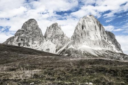 sella: view of the mountain Sassolungo from Sella Pass, Val Gardena - Dolomites, Italy