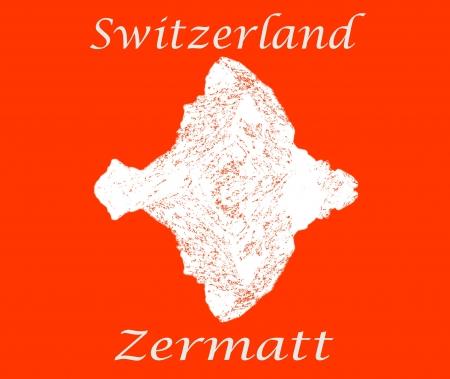 matterhorn: Zermatt text and profile of the Matterhorn with reflection Stock Photo