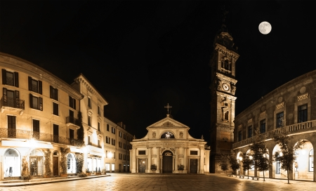 San Vittore square, Varese - night panorama with full moon
