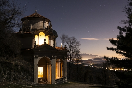 Fifth Chapel on the Sacred Way in a windy winter night, Varese photo