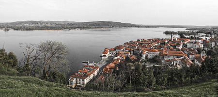 arona: Landscape over the city of Arona and Maggiore Lake, Piedmont - Italy