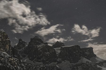 sella: Dolomiti, Sella Group in a spring night at the moonlight - Trentino-Alto Adige - Italy