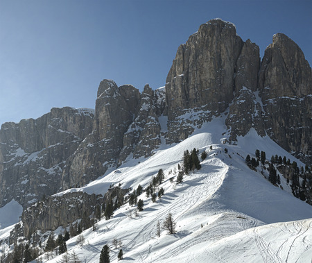 sella: Winter landscape from Gardena Pass on the Group of Sella, Dolomiti