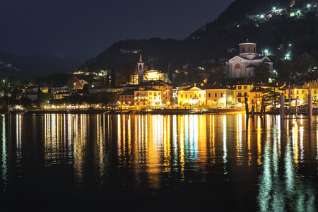 Night landscape and city lights in Lavemo-Mombello, Varese - Lombardy, Italy photo