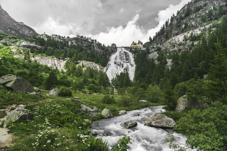 Waterfall of river Toce in Formazza Valley, Piedmont - Italy