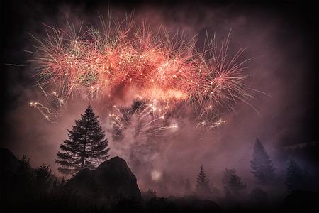 Fuochi d'artificio nella foresta nella straordinaria notte d'estate, Cascata del Toce - Piemonte, Italia