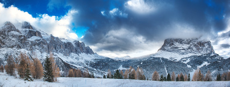 sella: Landscape on the Sella Group and Sassolungo seen from the street of the Sella Pass- Dolomiti, Trentino-Alto Adige