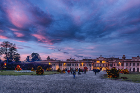Christmas lights in the public gardens of Estense Palace, Varese Archivio Fotografico