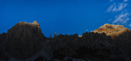 cir: last rays of Sun on the top of Cir Group, Dolomites