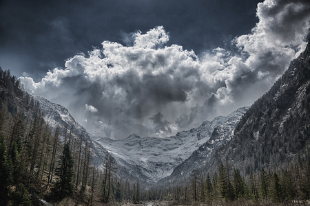 Storm clouds over the glacier in spring season with forest in foreground Archivio Fotografico