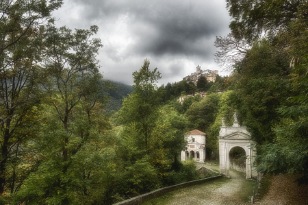 Sacred Mount of Varese in a cloudy afternoon of september  Stock Photo