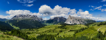 view of the mountains of Alta Badia in summer season - Sudtirol, Italy