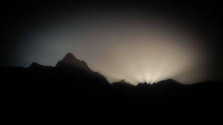 dark sunset in the mountains Archivio Fotografico