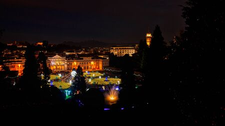 Christmas lights at the Public Garden of Varese in winter evening Archivio Fotografico