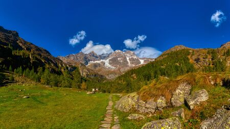 great view of Monte Rosa from Sesia Valley in a sunny day Standard-Bild