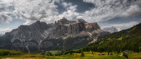 great summer landscape of Sella Group in Alta Badia, Dolomites - Italy