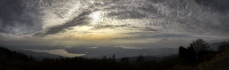great panorama at sunset on the lakes in backlight, Varese