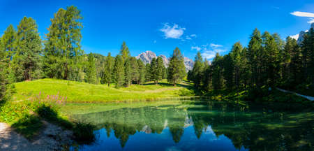 beautiful lake in the natural park of Puez Odle in the Dolomites, Italian Alps