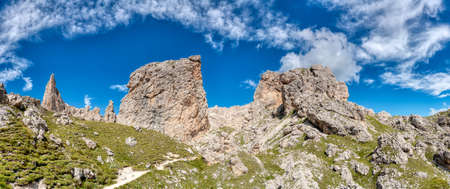great summer landscape of Cir Pass in Alta Badia, Dolomites - Italy