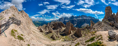 great summer landscape of Cir Pass in Alta Badia with Sella Group, Dolomites - Italy