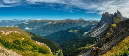 Landscape of Funes Valley from the top of Seceda, Val Gardena, Trentino-Alto Adige, Dolomites