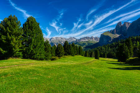 Landscape of green meadow and mountains of Gardena Valley in a summer morning with scenics clouds in the sky, Dolomites Standard-Bild