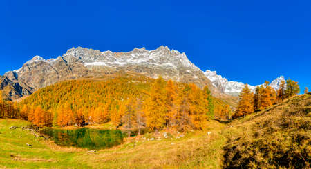 Blue lake in autumn season near the little village of Breuil-Cervinia in Aosat Valley, Italy