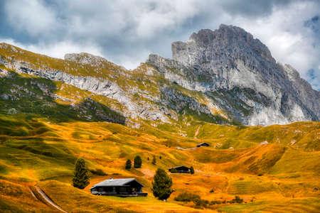Fall season on the meadow of Seceda in the Gardena valley, Dolomites - Trentino-Alto Adige Archivio Fotografico
