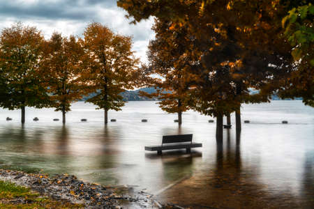 The flooding of Major Lake in the autumn season near the little city of Ispra, Italy