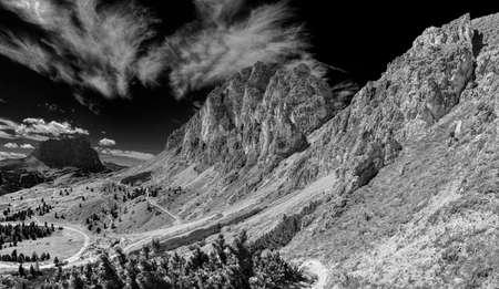 infrared landscape of Cir Group in Alta Badia, Dolomites - Italy 版權商用圖片