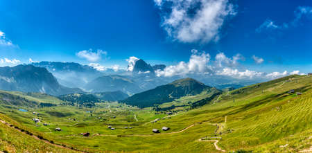 Summer great landscape from the top of Seceda with foggy in the valley, Trentino-Alto Adige - Italy 版權商用圖片