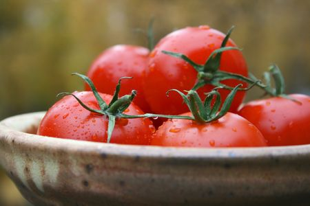 Fresh Tomatoes in a clay dish
