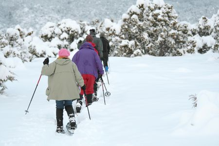 A family snowshoeing trip in the mountains