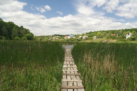 A wetland Boardwalk in Condrita village, in Republic of Moldova