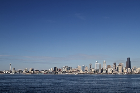 Skyline of Seattle in Summer Day photo