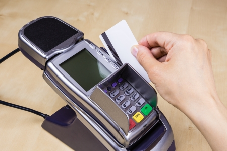 stripe: Pay with Plastic Card with Magnetic Stripe Stock Photo