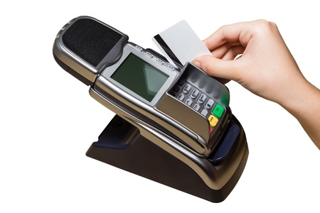 technology transaction: Pay with a Plastic Card with Magnetic Stripe isolated on White