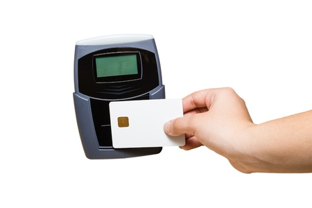technology transaction: Pay with a Plastic Card with Electronic Chip isolated on White Stock Photo